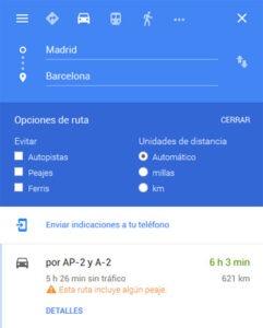 opções-de-rota-por-carro-google-maps